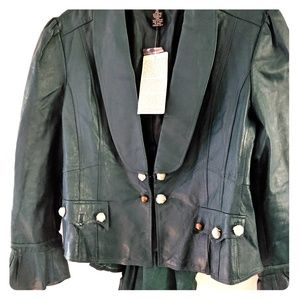 Forest Green Steampunk Leather Jacket